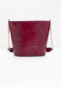 & Other Stories image 1 of Leather Bucket Bag in Burgundy Embossed Snake