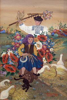 ZUZANA VERESKY, naive art painter from Kovacica, Vojvodina, Serbia