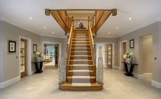 When I win the lottery. 4 Bedroom House Designs, Bungalow House Design, Hallway Designs, House Staircase, Staircase Design, Staircase Ideas, Oak Frame House, Staircase Makeover, Rustic Home Design