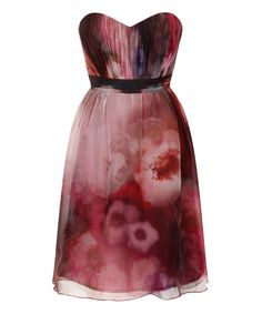 Another great find on #zulily! Berry Floral Strapless Dress by Little Mistress #zulilyfinds