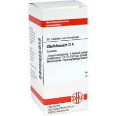 CHELIDONIUM D 4 Tabletten:   Packungsinhalt: 80 St Tabletten PZN: 02628079 Hersteller: DHU-Arzneimittel GmbH & Co. KG Preis: 5,95 EUR…