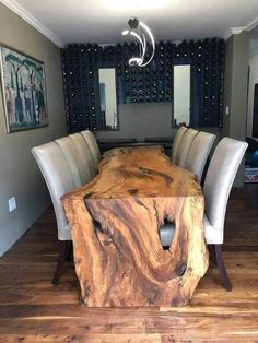 Fine Wood Table Designs Look around as you move throughout your day. You see examples of man's mastery of woodworking everywhere. From mailbox posts to pieces of furniture and art to full buildings, the power to use wood to create is Wood Slab Table, Wood Table Design, Dining Room Design, Wooden Tables, Dining Room Table, Table Designs, Live Edge Furniture, Unique Furniture, Rustic Furniture