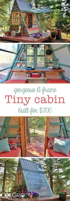 A-Frame Tiny Guest Cabin in Montana Gebaut für 700 US-Dollar - Sheila lauderdale - Tiny Cabins, Tiny House Cabin, Tiny House Living, Tiny House Plans, Tiny Cabin Plans, Tiny Cottages, A Frame Cabin Plans, Tiny Guest House, Small Tiny House