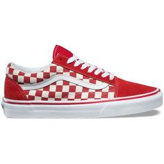 Vans Primary Check Old Skool ($60) ❤ liked on Polyvore featuring men's fashion, men's shoes, men's sneakers, shoes, momma shoes, red, shoes., mens toe cap shoes, mens lace up shoes and mens red shoes