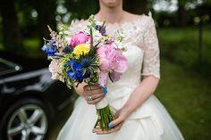 Peony Thistle Daisy Bouquet Flowers Bride Bridal Colourful Happy Home Made Countryside Barn Wedding Hertfordshire http://www.binkynixon.com/