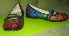 Glitter paint on canvas shoes.  Not a tutorial