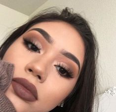 "Brown lipstick and eye makeup History of eye makeup ""Eye care"", put simply, ""eye make-up"" Glam Makeup, Cute Makeup, Gorgeous Makeup, Pretty Makeup, Skin Makeup, Beauty Makeup, Brown Lipstick Makeup, Makeup Eyebrows, Awesome Makeup"