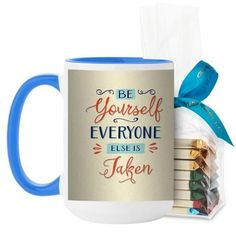 Be Yourself Script Mug, Light Blue, with Ghirardelli Assorted Squares, 15 oz, Beige