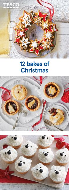 12 bakes of Christmas Christmas is the perfect time to indulge in a spot of baking and we've got a recipe for every festive occasion. Share a batch of buttery mince pies, assemble an impressive gingerbread wreath or bake a showstopping s'mores cake. Christmas Party Food, Xmas Food, Christmas Cupcakes, Christmas Sweets, Christmas Cooking, Homemade Christmas, Tesco Christmas, Christmas Ideas, Christmas Christmas