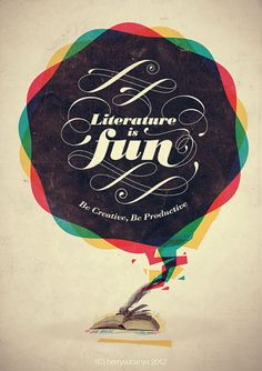 Literature is fun typography poster