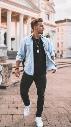 a black tee, a bleached denim jacket, black skinnies, white sneakers and layered necklaces Trendy Mens Fashion, Stylish Mens Outfits, Casual Fall Outfits, Men Casual, Spring Outfits, Guy Outfits, Blazer Outfits, Outfit Ideas For Guys, Mens Fashion Outfits