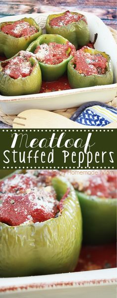 Meatloaf Stuffed Peppers - the perfect favorite dinner recipe mashup! If your family loves stuffed peppers and meatloaf, they'll go crazy for this dinner idea! recipe with green peppers Meatloaf Stuffed Peppers Meatloaf Recipes, Meat Recipes, Cooking Recipes, Recipies, Diabetic Recipes, Cooking Meatloaf, Pepper Recipes, Dutch Recipes, Hamburger Recipes