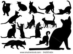 Cats - stock vector Black Cat Silhouette, Silhouette Images, Silhouette Vector, Shadow Drawing, Cat Drawing, Cat Icon, Space Cat, Linocut Prints, Cat Art