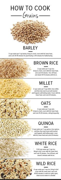 A great guide to cooking grains from POPSUGAR Food. - Healthy Nutrition & Cooking Tips, Inspiration - Brown Rice Benefits, Vegan Recipes, Cooking Recipes, Cooking Hacks, Cooking Rice, Cooking Pasta, Cooking Quotes, Cooking 101, Healthy Rice Recipes