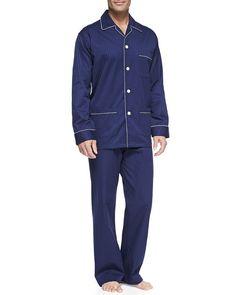 63b3d3fc91 Satin-Stripe Dot-Print Pajamas - Derek Rose Pjs