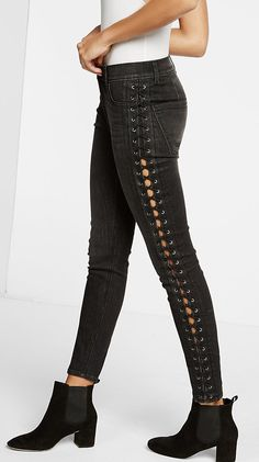 Express high waisted lace-up side ankle legging