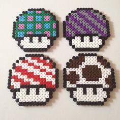 Mario Mushrooms perler beads by davidnilssonart