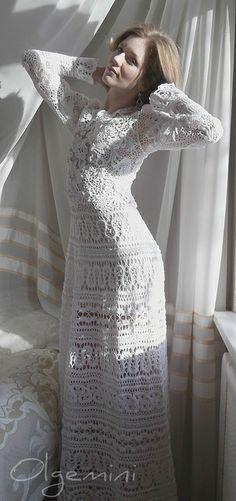 """Olegmini's Dress """"Swan""""more: http://pinterest.com/gigibrazil/crochet-and-knitting-lovers/"""