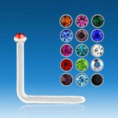 Joya para piercing de nariz en ángulo con cristal de colores. Grosor ultrafino: 0,6mm. Muy discreto: barra de 5mm de largo y cristal mini de 1mm. Ideal nariz , 1.92