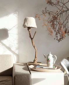 Knitwear table lamp from driftwood, oak wood and rope