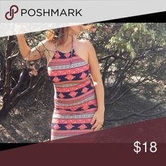 Tribal Print Dress Backless Tribal Print Halter Dresses Backless