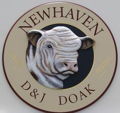 A striking proprty sign, Newhaven shows a poll hereford, which says pretty much everything about this farm! Newhaven, Farm Signs, Hereford, Signage Design, Store Signs, Sign Language, Farm Animals, Lion Sculpture, Things To Come