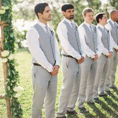 Casual gray groomsmen style // Vicki Grafton Photography // http://www.theknot.com/weddings/album/a-vintage-garden-wedding-in-st-mary-s-city-md-148507