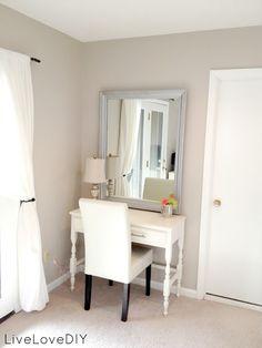 thrift store desk turned bedroom vanity table. (Seen here ...
