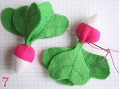 Radishes tutorial in French, but the pictures are lovely, and you get the idea