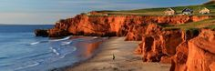 Cliffs of the Dune du Sud beach, Iles de la Madeleine, Quebec, Canada Oh The Places You'll Go, Places To Travel, Places To Visit, Camping Au Quebec, Mountain Waterfall, The Dunes, Canada Travel, Travel Photography, Beautiful Places