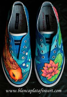 Custom Hand Painted Shoes Sneakers Coy Fish by blancaplatafineart 150 00 Custom Hand Painted Shoes Sneakers Coy Fish by blancaplatafineart 150 00 Painted Canvas Shoes, Custom Painted Shoes, Painted Sneakers, Painted Clothes, Hand Painted Shoes, Custom Shoes, Painted Converse, Custom Sneakers, Arte Sharpie