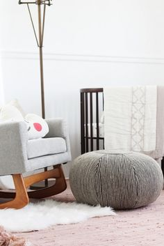 baby girl nursery with Stokke Sleepi Crib | white and neutral palette with pops of soft blush pink colors @SmallFryBlog
