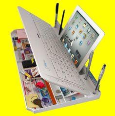 Teclado bluetooth com espaço para tralhas. Adaptado para tablets como o iPad.