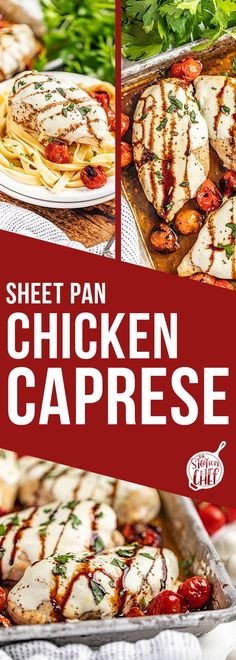 This Sheet Pan Chicken Caprese recipe combines your favorite caprese flavors with chicken for a quick and easy sheet pan dinner that the whole family will love! Serve plain as is over serve it over pasta for a delicious meal! Caprese Chicken, Food Dishes, Main Dishes, Yummy Chicken Recipes, Delicious Dinner Recipes, Perfect Food, Quick Meals, Caprese Recipe, Sheet Pan