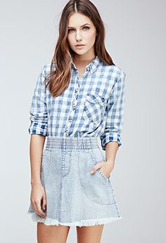 Faded Twill-Woven Gingham Shirt | FOREVER21 - 2000080030