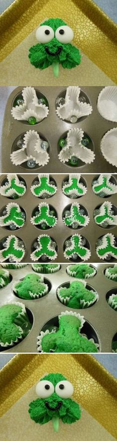 St. Patrick\'s Day cupcakes. Diy Cute 4 four leaf clover cupcakes! Dessert | DIY & Crafts Tutorials---