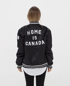 33ab8aa615ec2 Home is Canada Varsity Bomber Jacket - Black