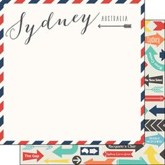 Scrapbook Customs - Travel Adventure Collection - 12 x 12 Double Sided Paper - Sydney Memories Air Mail Arrows