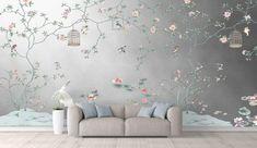 Vintage Bird Wallpaper, Silver Wallpaper, Unique Wallpaper, Vintage Birds, Wall Wallpaper, Herringbone Wallpaper, Chinoiserie Wallpaper, Wall Design, Handmade Items