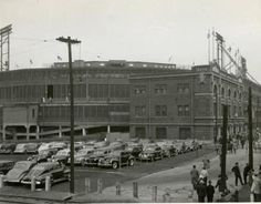 Rare exterior photo of Crosley Field and the stadium's parking lots, ca 1945? Cincinnati Reds