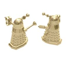 Shut up and take my money! Gold-Plated Dalek Stud Earrings by Harlequin Goldsmiths. Doctor Who Jewellery £54.99