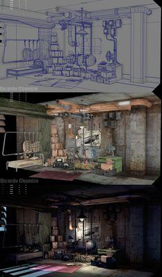 Maya-Screenshot, Ricardo Chamizo Source by Game Level Design, Game Design, Environment Concept Art, Environment Design, Polygon Modeling, 3d Modeling, Motion Design, Illustrator, 3d Mesh
