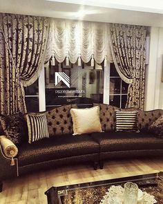 Living Room Decor Curtains, Interior And Exterior, Interior Design, Luxury Curtains, Curtain Designs, Leather Sofa, Sofa Design, Valance Curtains, Home Furnishings