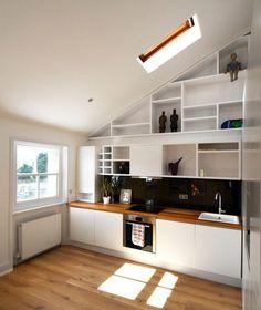 comptoirs de cuisine en bois toit moderne Schrage étagères ouvertes blanc