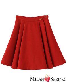 Red High Waist Pleated A Line Skirt