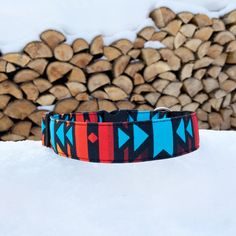Desert sky dog collar, aztec dog collar, boho dog collar, eco canvas dog collar Plaid Dog Collars, Thing 1, Water Stains, Red Dog, Use Of Plastic, Pet Safe, Christmas Dog, Canvas Fabric, Metal Buckles