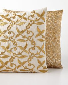 -6D6W John Robshaw  Golden Sharin Pillow Golden Rabaz Pillow
