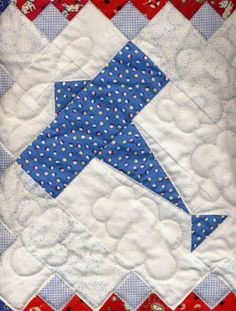 Airplane Quilt Block by Marsha McCloskey Really love the quilted clouds :)