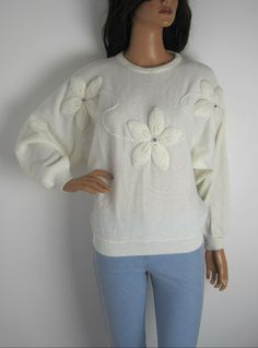 Vintage 1980s Cream Floral Batwing Jumper With Jewel Detail available to buy online at Virtual Vintage Clothing £23