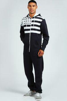204e84e9664d volwassen mannen en vrouwen pyjama amerikaanse vlag oneise jumpsuit met  capuchon